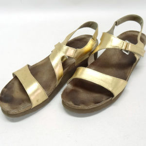 Naot Gold Leather Strappy Sandals